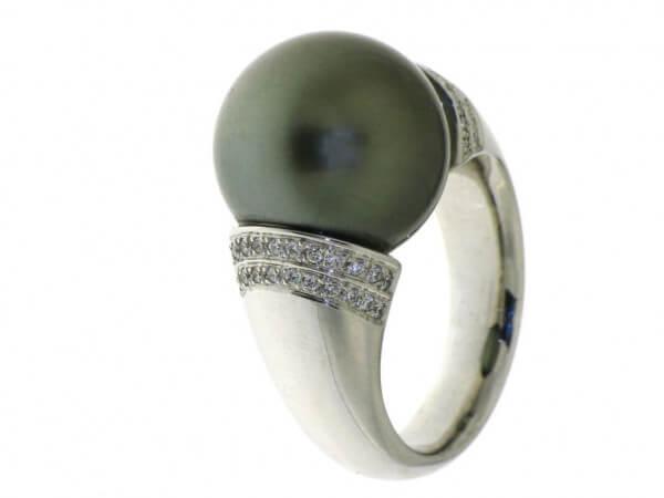 Ring Weißgold mit Tahiti Perle 15-16 mm