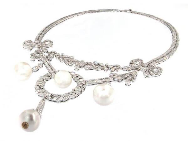 Collier Südsee Perlen und Brillanten