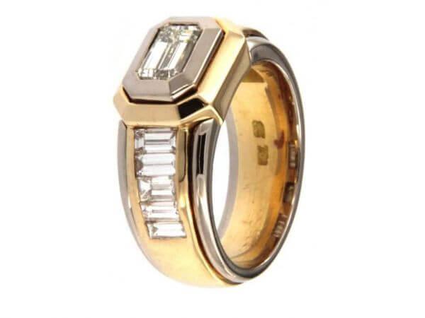 Ring Gelb und Weißgold Diamant 1,02 ct