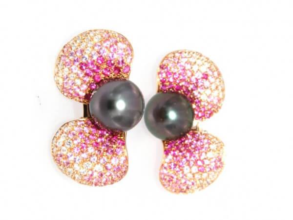 Ohrringe Tahiti Perlen,Brillant,Safire