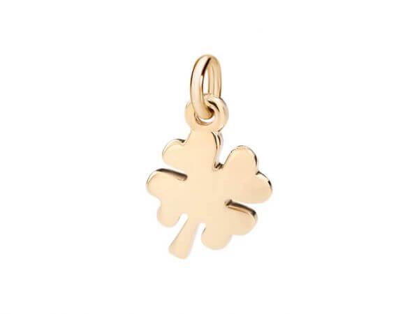 Dodo Anhänger mini Kleeblatt Gelbgold