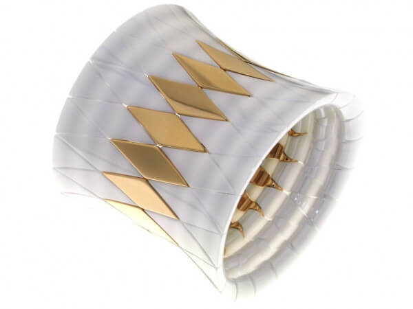 Aura Diva Armband weiße Keramik, goldpl.