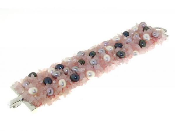 Armband mit Rosenquarz und Perlen