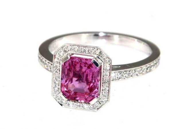 Ring Weisgold pink Safir und Brillant