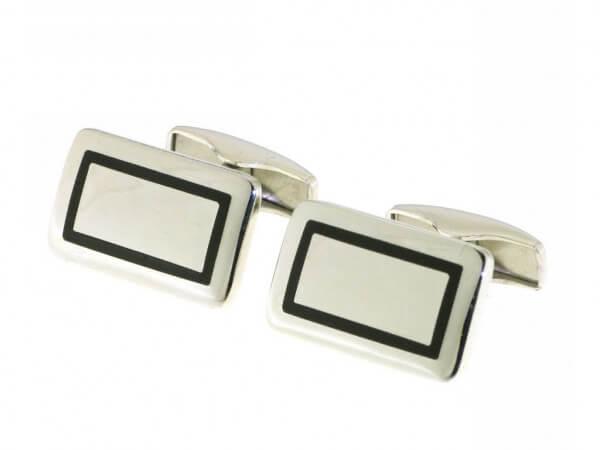 Manschettenknöpfe Silber schwarz Emaille
