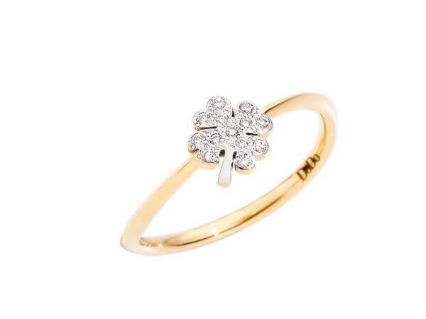 Dodo Icon Ring mini Kleeblatt,Brillanten