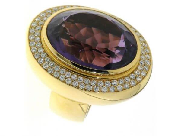 Ring 750 Gelbgold Amethyst und Brillant