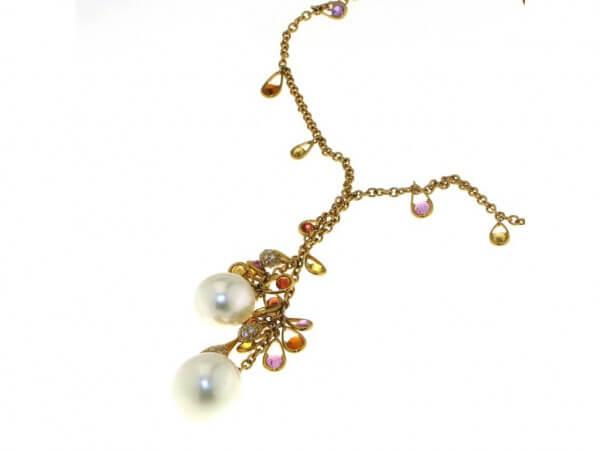 Collier Südsee Perlen und bunte Safire