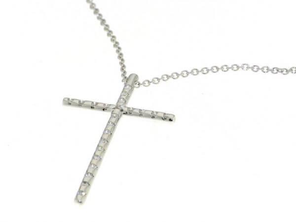 Collier Weißgold Kreuz mit Brillanten