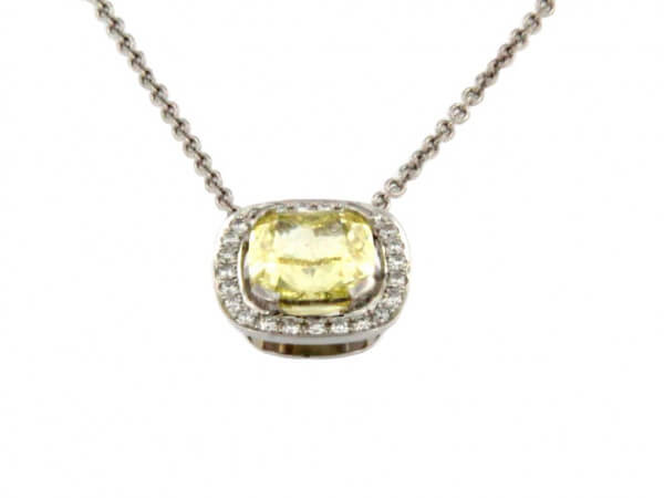Collier mit Fancy Yellow Intense Diamant