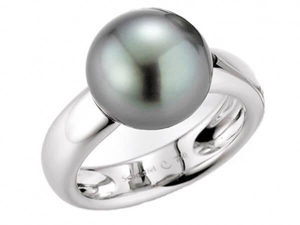 Ring Weißgold Tahiti Perle 11 - 12mm