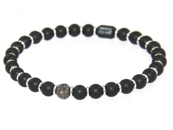 Armband Keramik und schwarze Diamanten