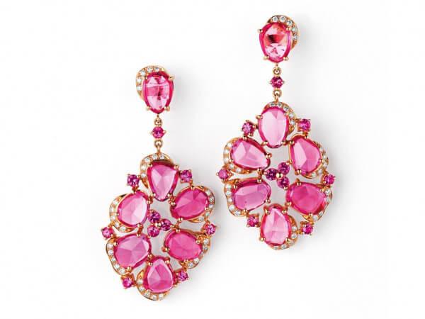 Ohrringe Roségold mit pink Safiren