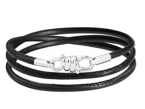 Dodo Nodo Armband mit schwarzem Leder