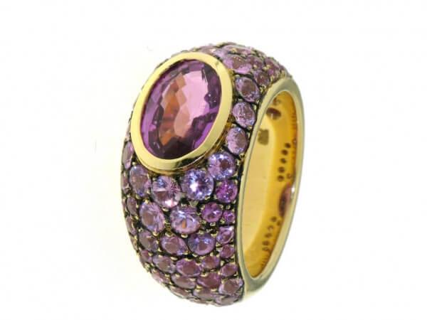 Ring 750 Gelbgold mit pink Saphiren