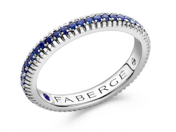 Fabergé Ring Weißgold mit Saphiren