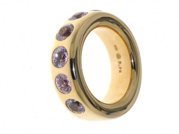 Ring aus Roségold mit 6 rosa Safiren