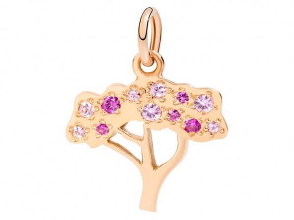 Anhänger Baum Roségold mit rosa Safiren