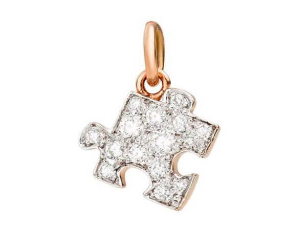 Dodo Puzzle Anhänger links mit Diamanten