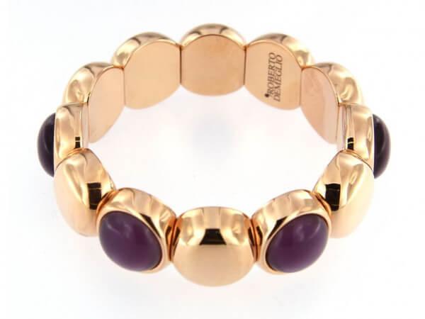 Armband flexibel lila Steine roségold