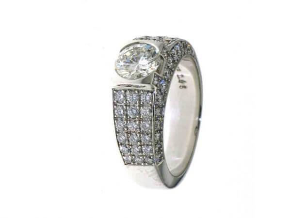 Ring aus Weißgold 1 Brillant 1,1 ct