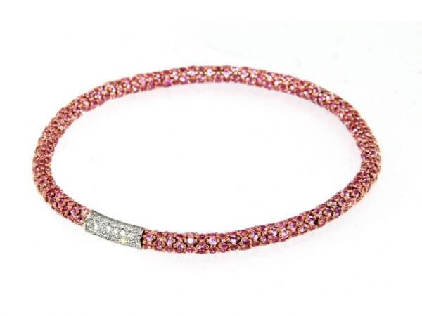 Armband flexibel pink Safire, Brillanten
