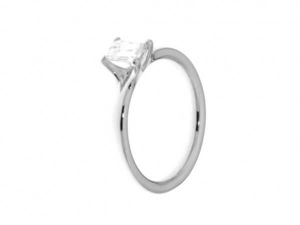 Solitärring aus Platin 1 Emerald Diamant