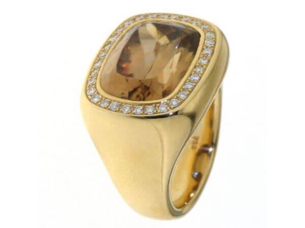Ring Roségold brauner Zirkon, Brillanten