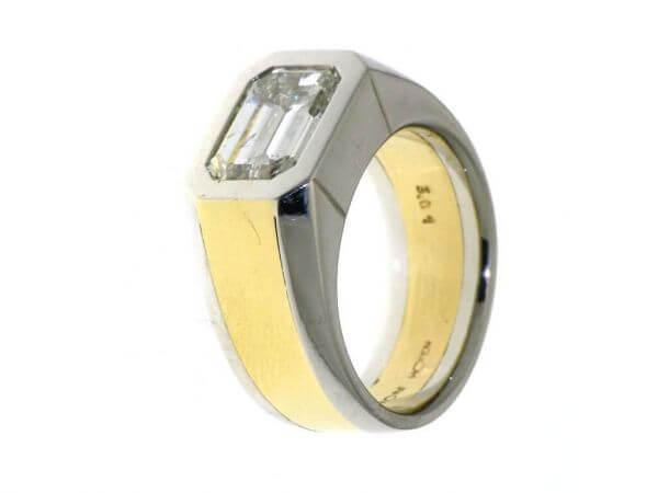 Ring Platin und Gelbgold Diamant 3,01 ct