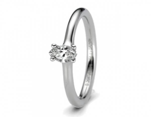 Solitär Ring Platin 1 Diamant Navette