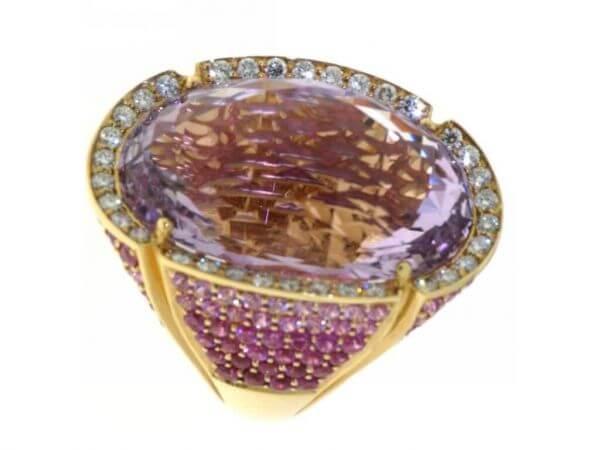Ring 750 Roségold Ameth,Rub,Pi.Saf,Dia