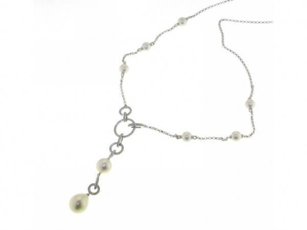 Collier Süßwasser Perlen und Brillanten