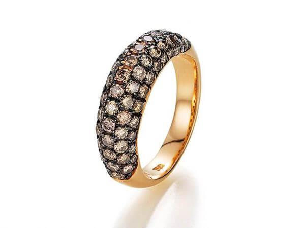 Ring Roségold mit braunen Diamanten