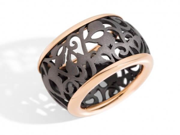 Ring Arabesque Noir Titan Roségold