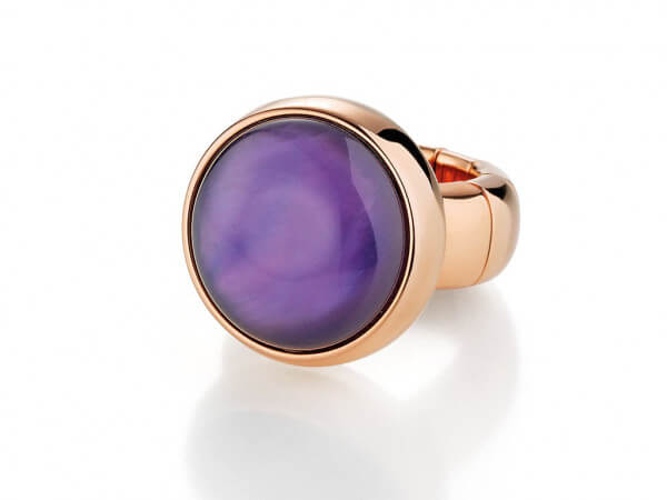 Ring aus Keramik mit lila Duplette