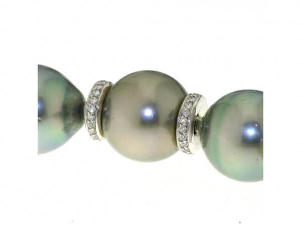 Schließe Perle 13mm Weißgold, Brillanten