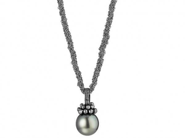 Collier Silber schwarz mit Tahiti Perle