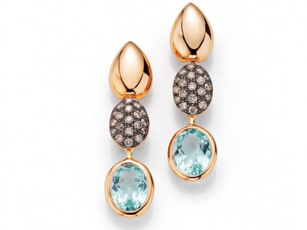 Ohrringe mit Beryllen, braune Diamanten