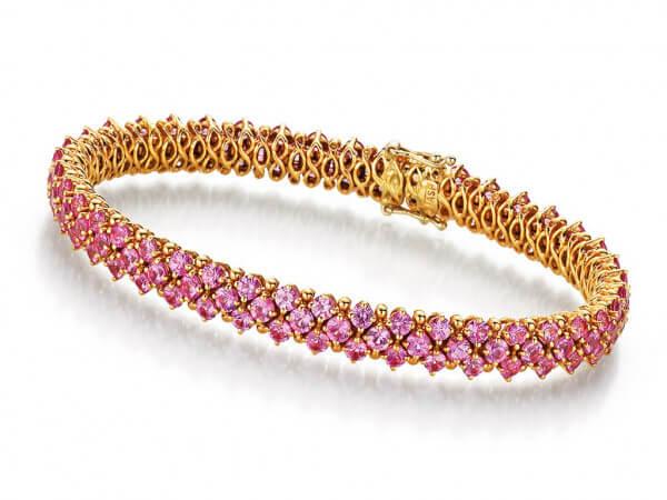 Armband 750 Roségold pink Safire