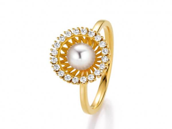Ring Swing Gelbgold Akoya Perle,Brillant