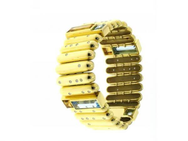 Armband Gelbgold mit Topas und Citrin