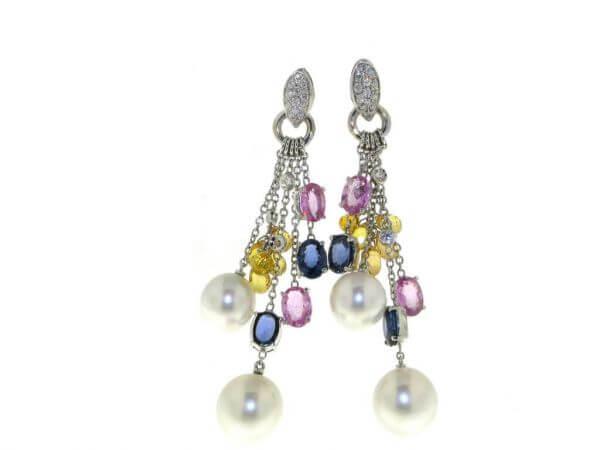 Ohrringe mit Südsee Perlen und Safiren