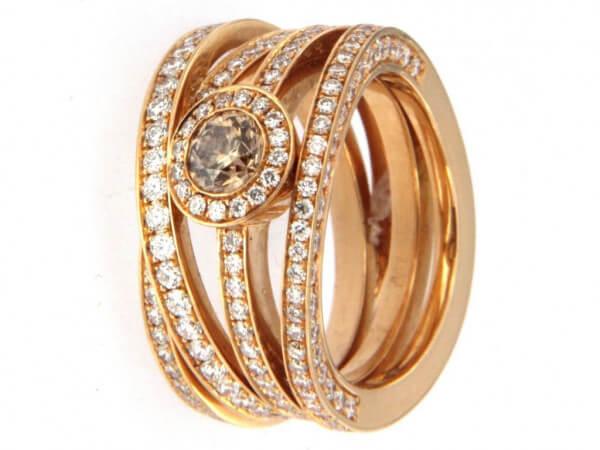 Ring Roségold 1 Diamant champagnerfarben