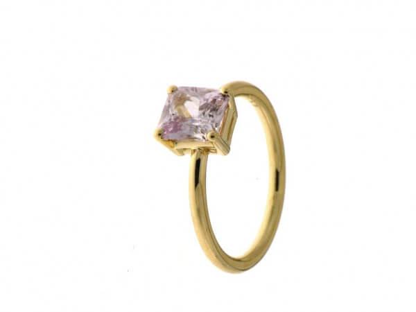 Ring aus Roségold mit einem pink Safir