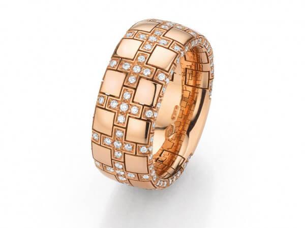 Ring aus Roségold 8,75 mm breit,Brillant
