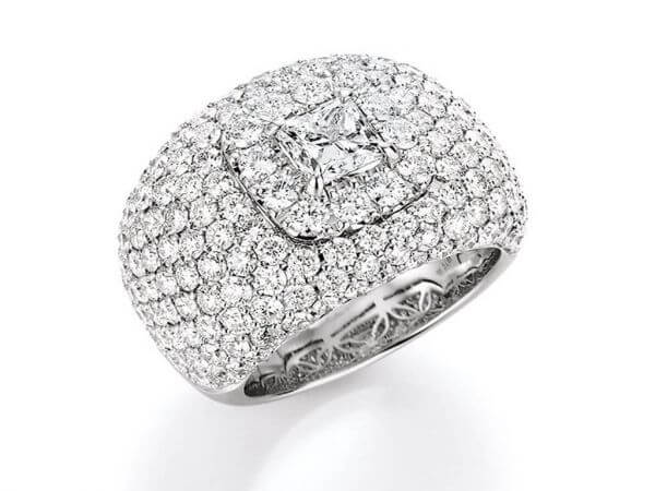 Ring Weißgold Prinzess Diamant,Brillant