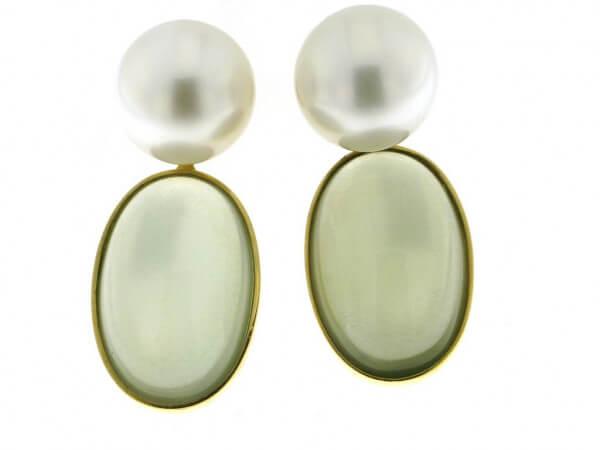 Ohrringe Gelbgold Mondstein,Südsee Perle