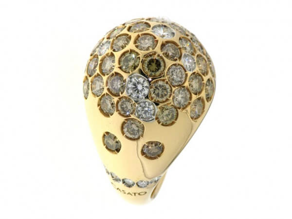 Ring 750 Rosegold Brillant braun + weiß