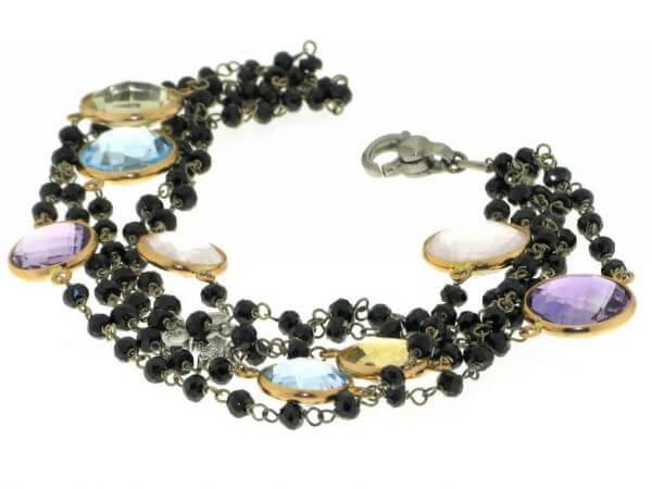 Armband 750Rosegold Fabsteine/Onyx