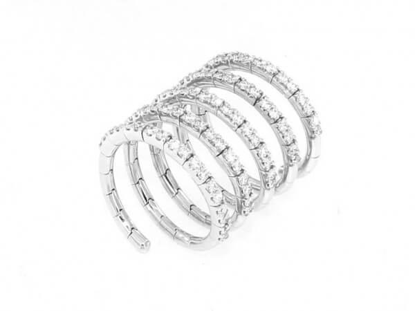 Ring Spirale aus Weißgold mit Brillant